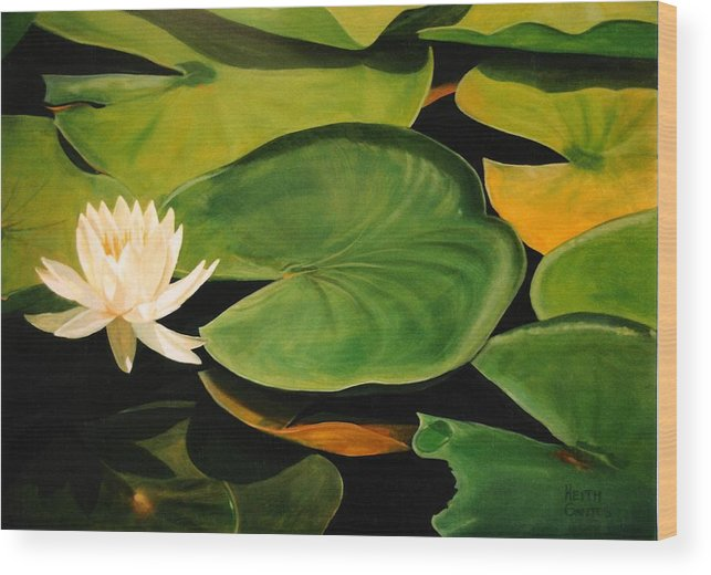 Lily Wood Print featuring the painting Water Lily by Keith Gantos