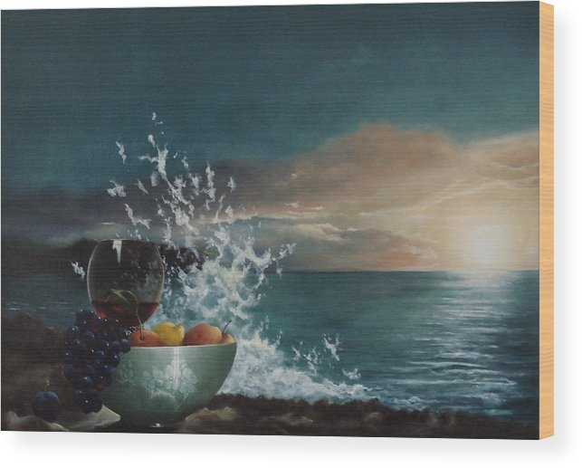 Seascape Wood Print featuring the painting Wave by Tjerk Reijinga