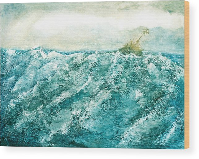 Oil Painting Wood Print featuring the painting wave V by Martine Letoile