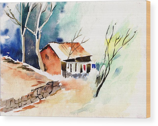 Nature Wood Print featuring the painting Weekend House by Anil Nene