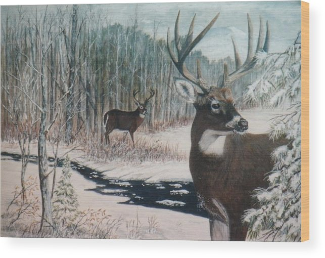 Deer; Snow; Creek Wood Print featuring the painting Whitetail Deer by Ben Kiger