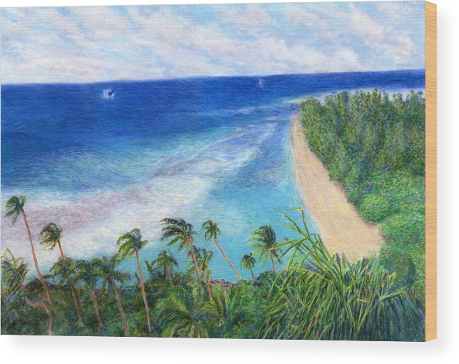 Rainbow Colors Pastel Wood Print featuring the painting Windblown by Kenneth Grzesik