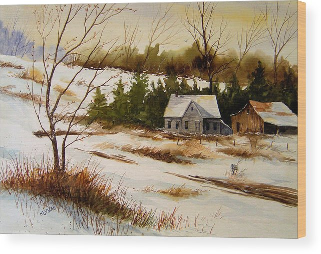 Landscape Wood Print featuring the painting Winter Morning by Brooke Lyman