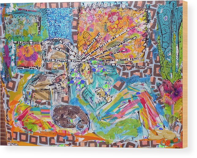 Abstract Wood Print featuring the mixed media Woman With Dog by Joyce Goldin