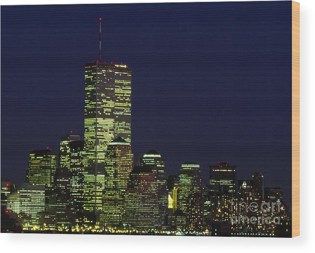 World Trade Center Twin Towers At Night New York City Wood Print