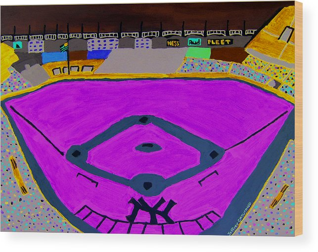 Yankee Stadium Wood Print featuring the painting Yankee Stadium by Jeff Caturano