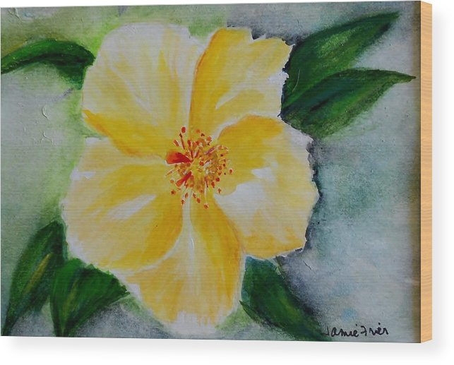 Flower Wood Print featuring the painting Yellow Hibiscus by Jamie Frier