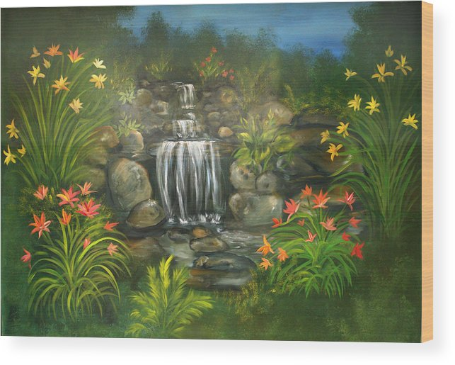 Waterfall Wood Print featuring the painting Zen Waterfall by Sundara Fawn