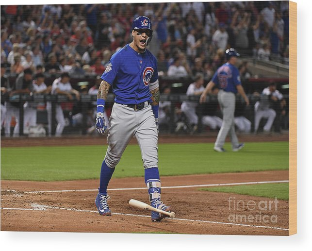 People Wood Print featuring the photograph Chicago Cubs V Arizona Diamondbacks by Norm Hall