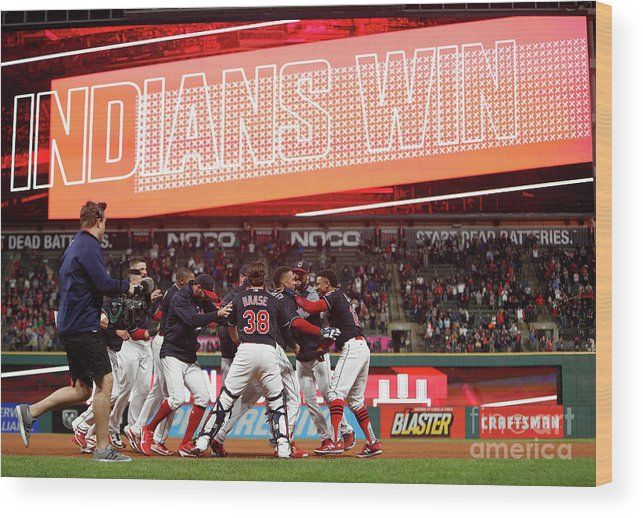 People Wood Print featuring the photograph Boston Red Sox V Cleveland Indians 9 by David Maxwell
