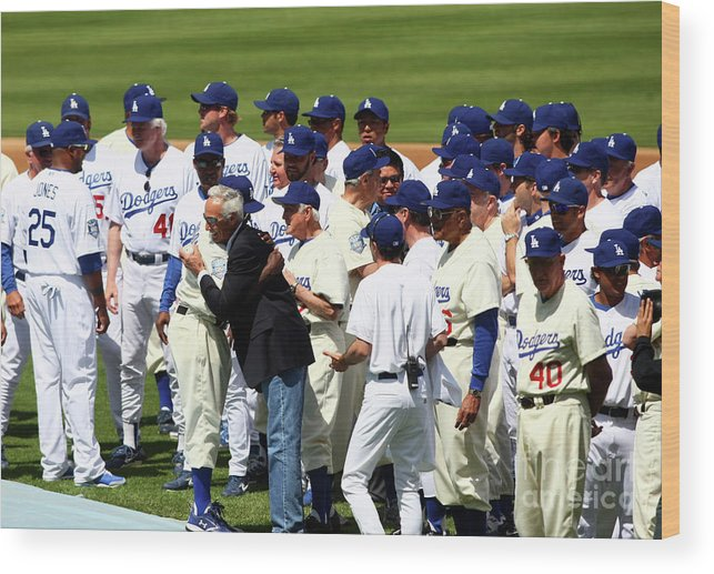 Sandy Koufax Wood Print featuring the photograph Baseball - National League - Giants Vs by Icon Sports Wire