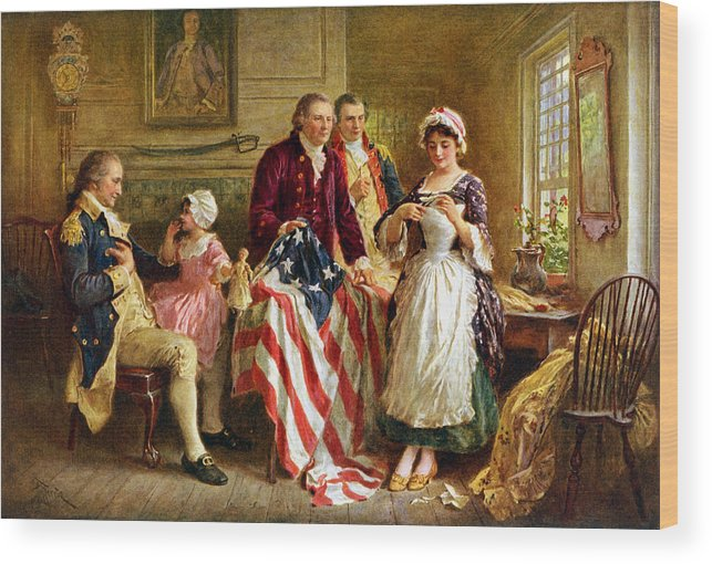 George Washington Wood Print featuring the painting Betsy Ross And General George Washington by War Is Hell Store