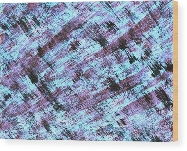 Abstract Wood Print featuring the painting Cautious 2 by Bella Reyna