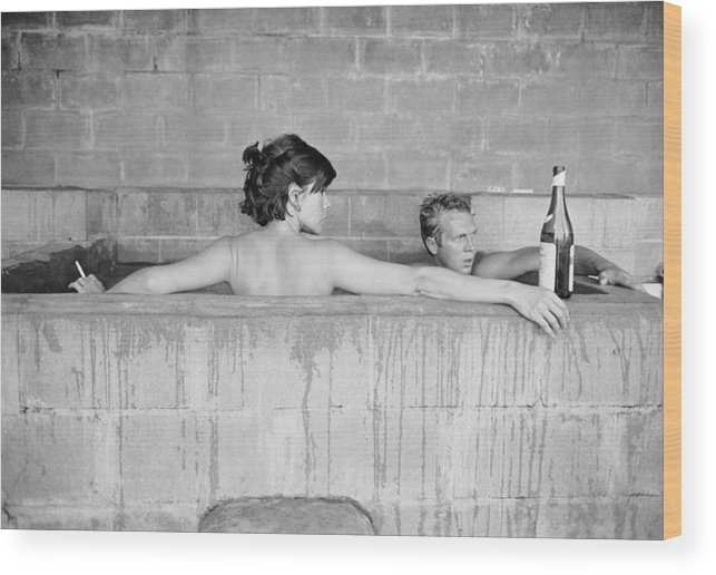 Looking Over Shoulder Wood Print featuring the photograph Mcqueen & Adams In Sulphur Bath by John Dominis