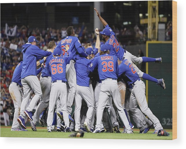 People Wood Print featuring the photograph Anthony Rizzo, Kris Bryant, And Chris Coghlan by Ezra Shaw