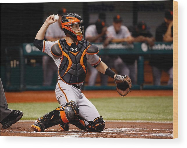 Baseball Catcher Wood Print featuring the photograph Buster Posey by J. Meric