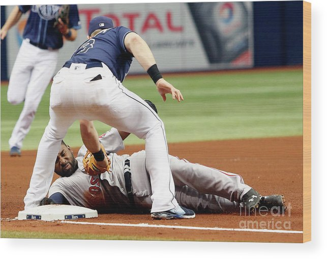 People Wood Print featuring the photograph Evan Longoria And Jackie Bradley by Brian Blanco