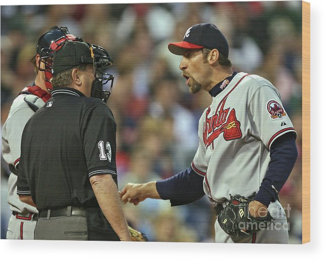 John Smoltz Wood Print featuring the photograph John Smoltz And Jimmy Rollins by Drew Hallowell