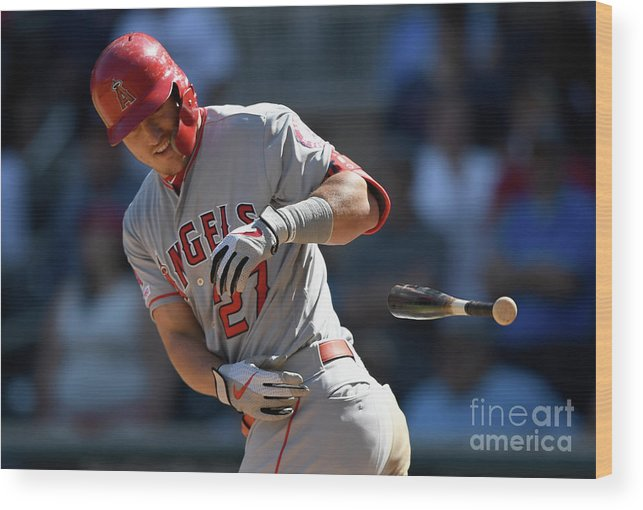 Three Quarter Length Wood Print featuring the photograph Mike Trout by Hannah Foslien