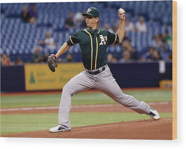 American League Baseball Wood Print featuring the photograph Tommy Milone by Brian Blanco