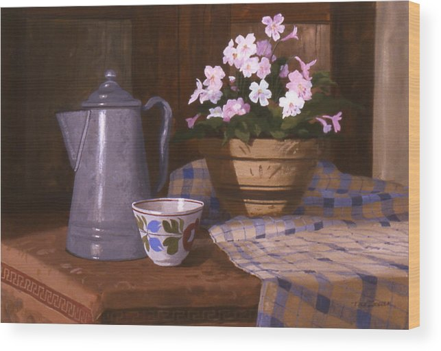 Antiques Wood Print featuring the painting Attic Treasures by Faye Ziegler
