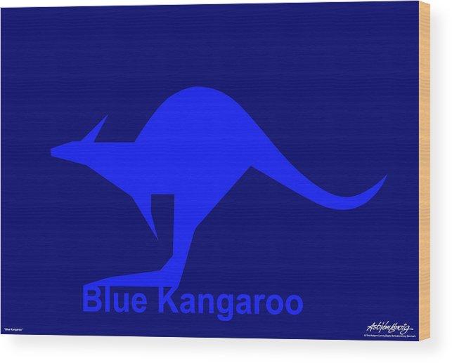Wood Print featuring the digital art Blue Kangaroo by Asbjorn Lonvig