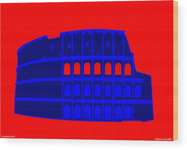 Colosseum Wood Print featuring the digital art Colosseum by Asbjorn Lonvig