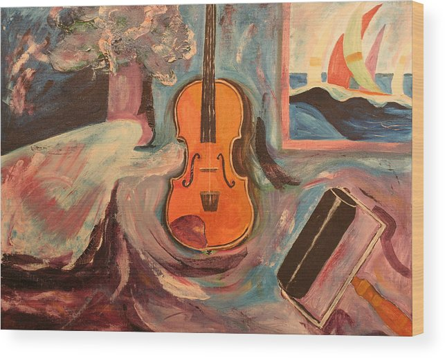 Wood Print featuring the painting Fiddle by Biagio Civale