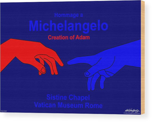 Michelangelo Wood Print featuring the digital art Hommage A Michelangelo by Asbjorn Lonvig