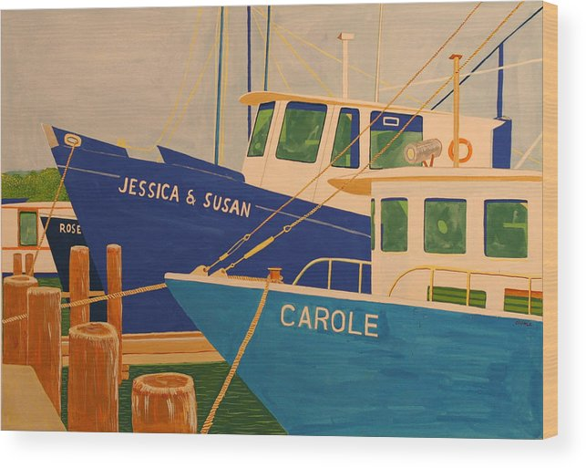 Marine Wood Print featuring the painting Jessica And Susan by Biagio Civale