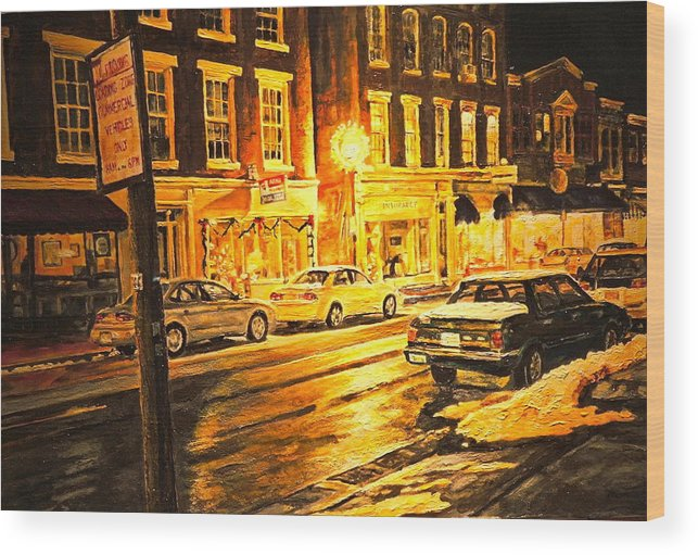 Street Scene Wood Print featuring the painting Lexington Street Light by Thomas Akers