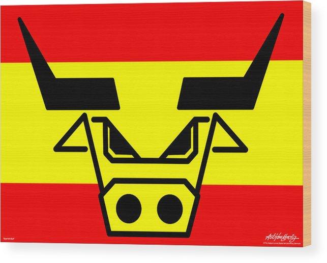 Spanish Bull Wood Print featuring the digital art Spanish Bull by Asbjorn Lonvig