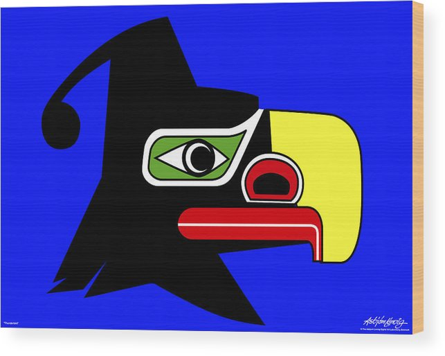 Thunderbird Wood Print featuring the painting Thunderbird by Asbjorn Lonvig