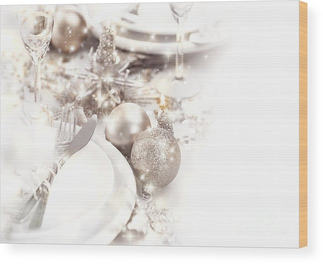 Alcohol Wood Print featuring the photograph Festive Table Setting by Anna Om