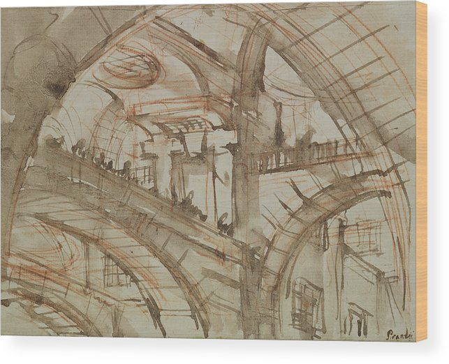 Gaol; Jail; Carceri D'invenzione; Fictive; Fantastic; Vaulted; Interior Wood Print featuring the drawing Drawing Of An Imaginary Prison by Giovanni Battista Piranesi