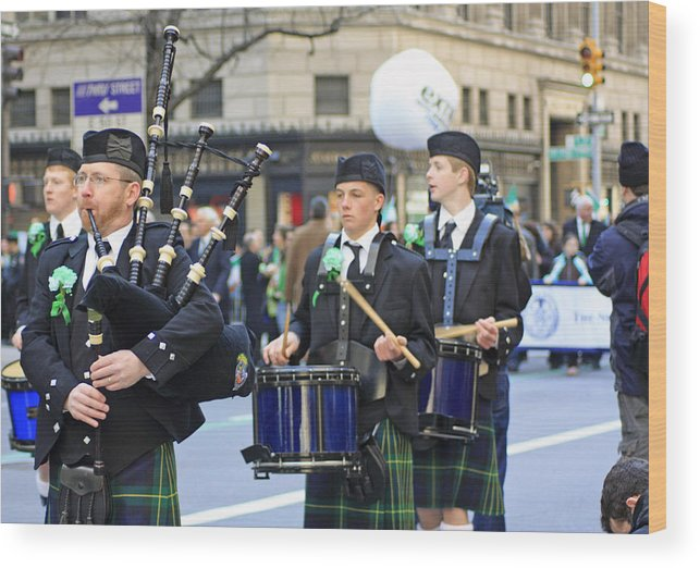 Band Wood Print featuring the photograph Some Bagpipers Marching In The 2009 New York St. Patrick Day Parade by James Connor