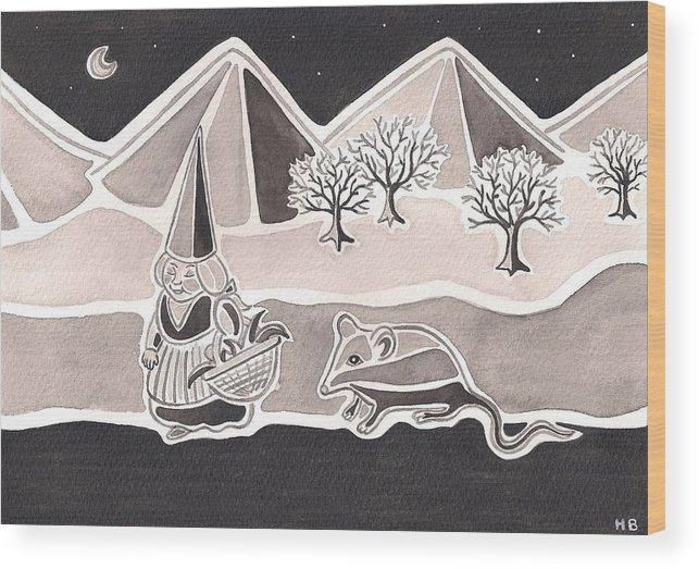 Gnome Wood Print featuring the painting A Walk In The Woods by Heidi Bjork