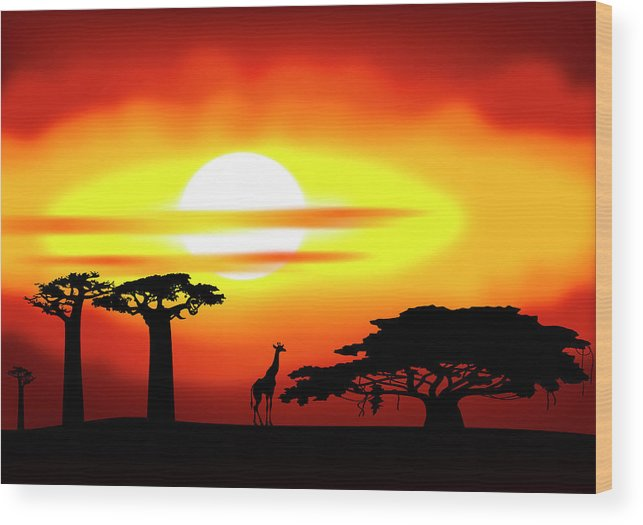 Africa Wood Print featuring the digital art Africa Sunset by Michal Boubin