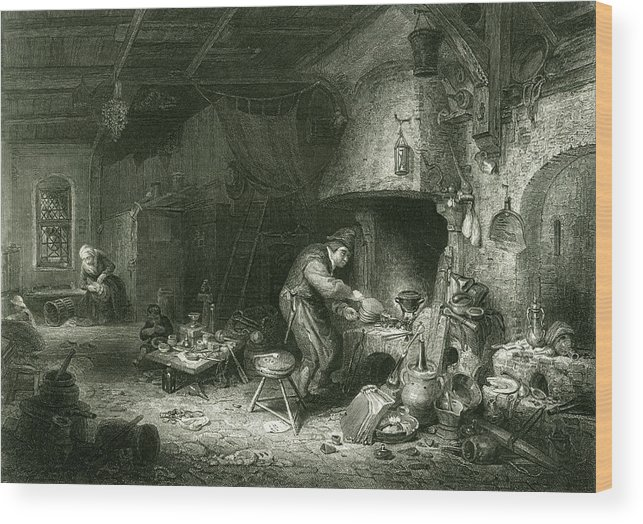 Flemish Wood Print featuring the drawing An Alchemist At Work, While His Wife by Mary Evans Picture Library