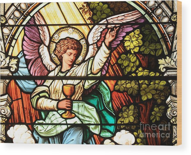 Angel Wood Print featuring the photograph Angel With A Chalice by Adam Jewell