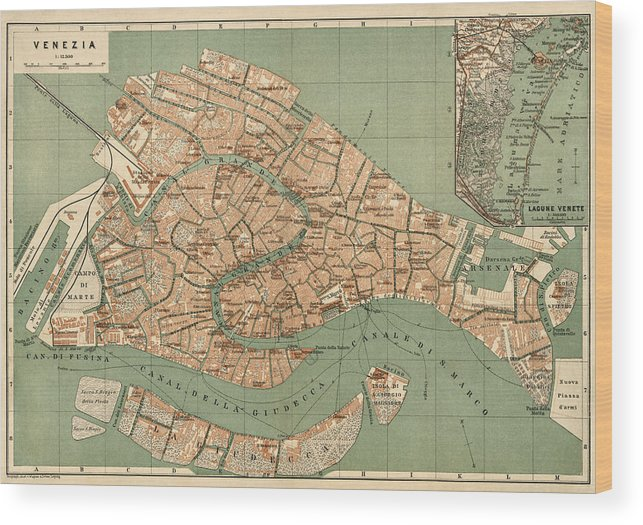 photograph regarding Printable Map of Venice identify Antique Map Of Venice Italy By means of Wagner And Debes - Circa 1886 Wooden Print