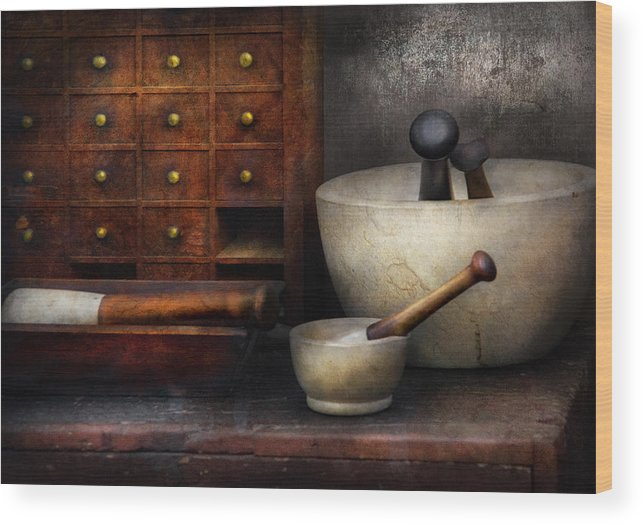 Suburbanscenes Wood Print featuring the photograph Apothecary - Pestle And Drawers by Mike Savad