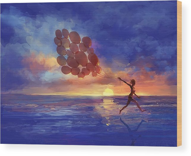Art Wood Print featuring the painting Art The Sea A Girl Balloons Running by Tian Chen