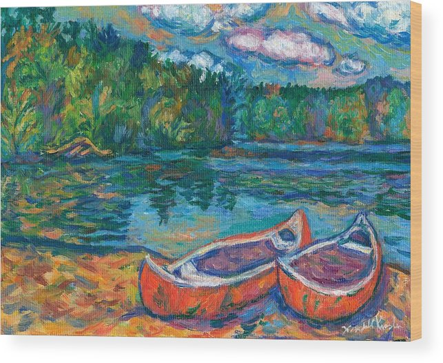 Landscape Wood Print featuring the painting Canoes At Mountain Lake Sketch by Kendall Kessler