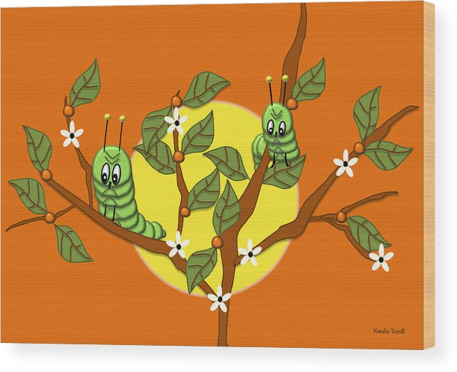 Illustration Wood Print featuring the digital art Caterpillars In The Orange Tree by Natalie Terrill