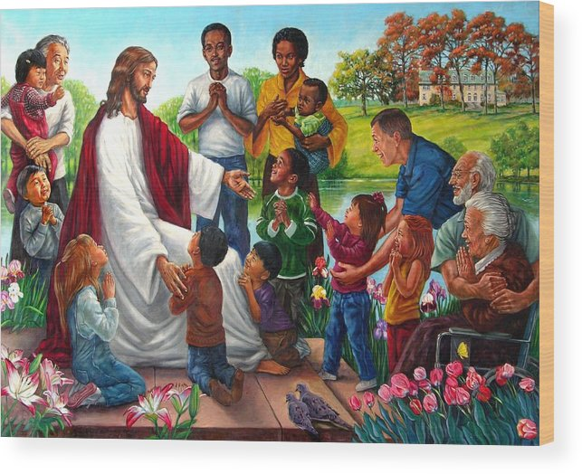 Children Wood Print featuring the painting Come Unto Me by John Lautermilch