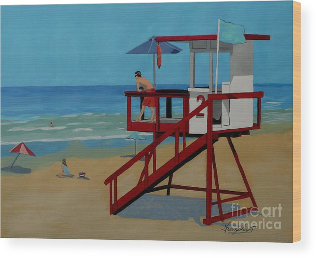 Lifeguard Wood Print featuring the painting Distracted Lifeguard by Anthony Dunphy