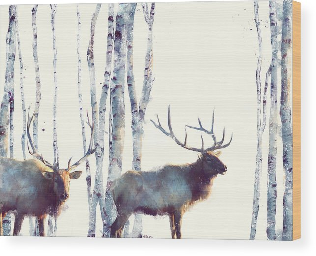 Elk Wood Print featuring the painting Elk // Follow by Amy Hamilton