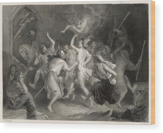 Scots Wood Print featuring the drawing Excited Scottish Witches Dance by Mary Evans Picture Library