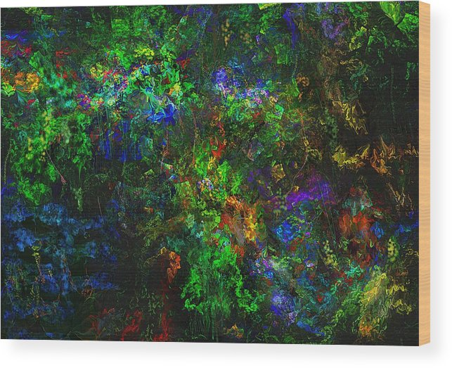 Abstract Wood Print featuring the digital art Flower Garden Gone Wild by David Lane